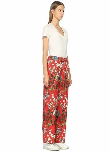 Alice+Olivia Yüksek Bel Çiçekli Bol Paça Pantolon Kırmızı